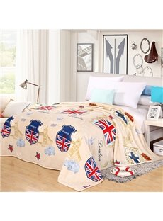 The Union Jack Print Beige Flannel Blanket