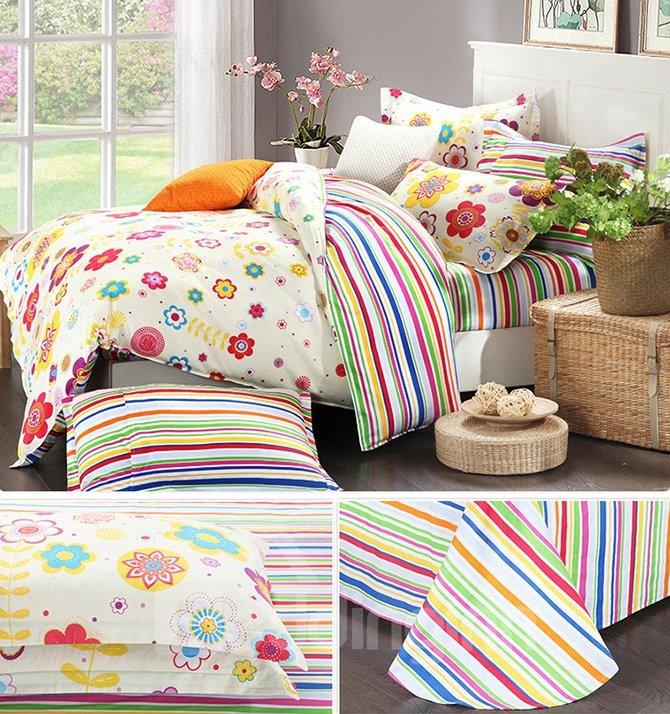 Colorful Stripes and Floral Pattern 100% Cotton Kids 3-Piece Duvet Cover Sets