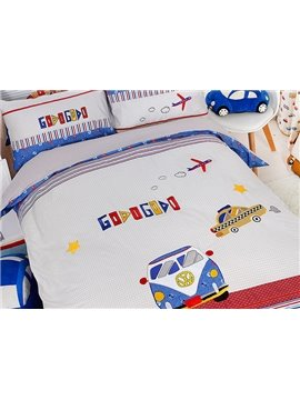 Trendy Bus&Car Print Cotton 3-Piece Kids Duvet Cover Sets