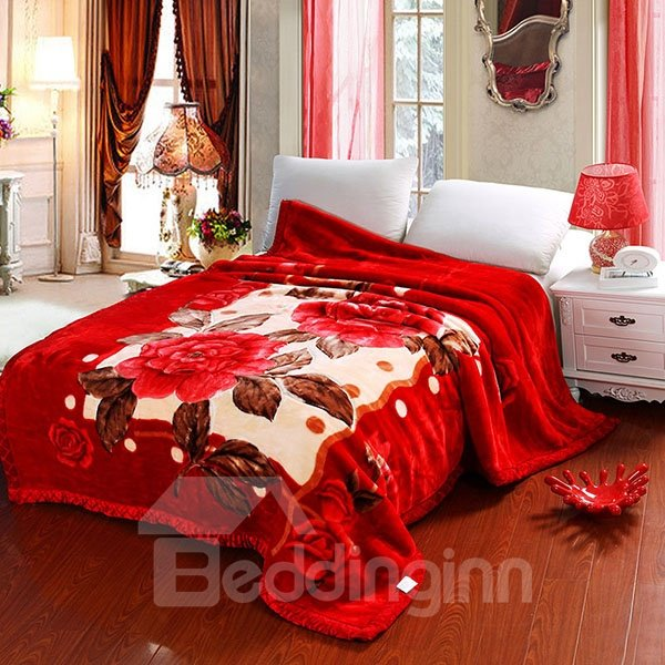 Bright Red Floral Printed Thickened Rashcel Blanket