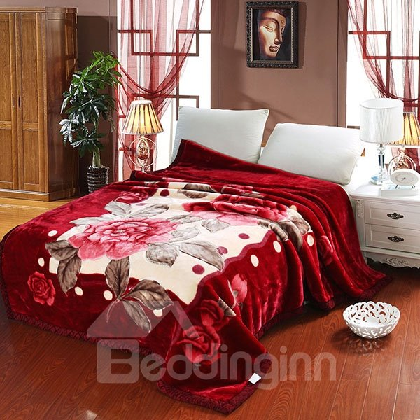 Vivid Red Flowers Classy Warm Raschel Blanket