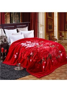 Fancy Red Flowers Raschel Blanket for Newlyweds