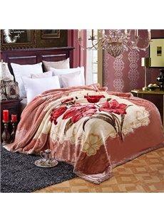 Graceful Red Flowers Design Top Class Raschel Blanket