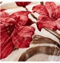 Graceful Red Flowers Design Top Class Raschel Blanket