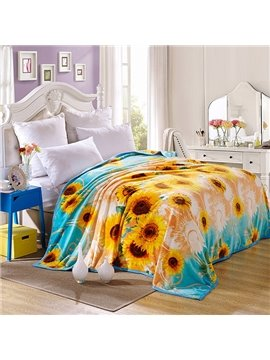 Bright Yellow Sunflowers Print Anti-Pilling Blanket