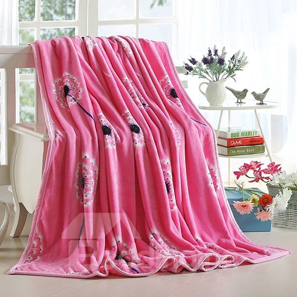 Dandelion Print Sweet Pink Blanket Suitable for All Seasons
