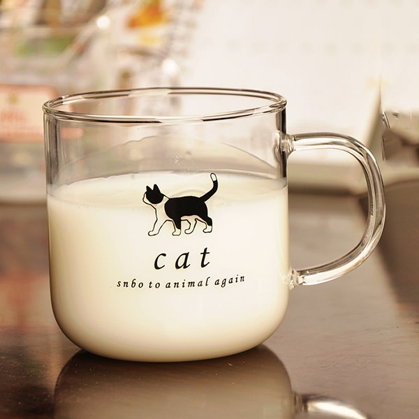 Cute Animal Pattern Glass Milk Cup Drinking Cup 11636260