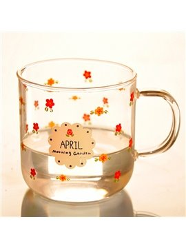 Fantastic Little Flowers Pattern Glass Drinking Cup