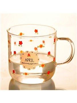 Fantastic Little Flowers Pattern Glass Drinking Cup