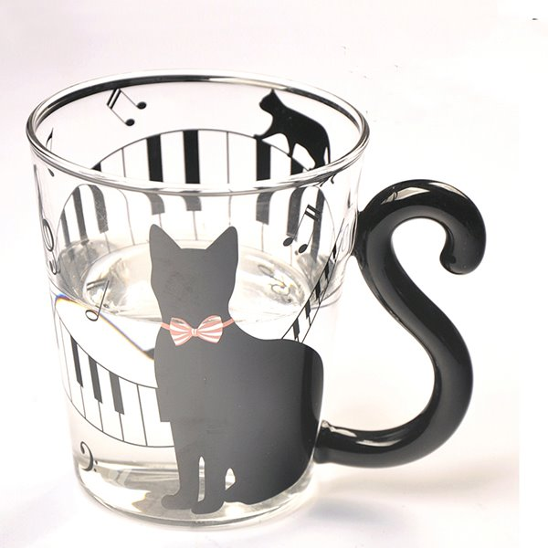 Unique Creative 3D Black Cat and Piano Keys Glass Cup 11636263