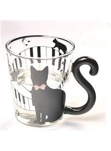 Unique Creative 3D Black Cat and Piano Keys Glass Cup