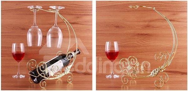 Wonderful Golden Float Design Wine Rack with 2-Glass Holder