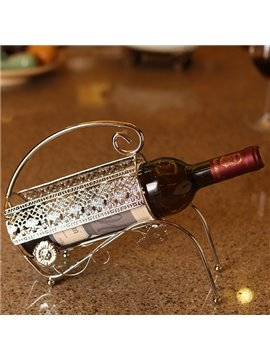 Unique Stainless Steel Cart Design Wine Rack