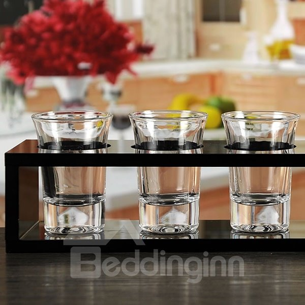 Wonderful 6-Piece Wine Glasses with Rack