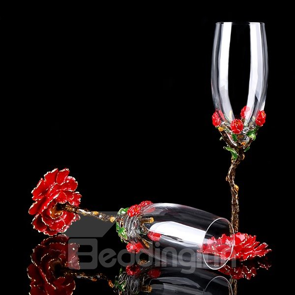 Unqie Enamel Champagne Wine Glasses 1-Pair Wedding Gift