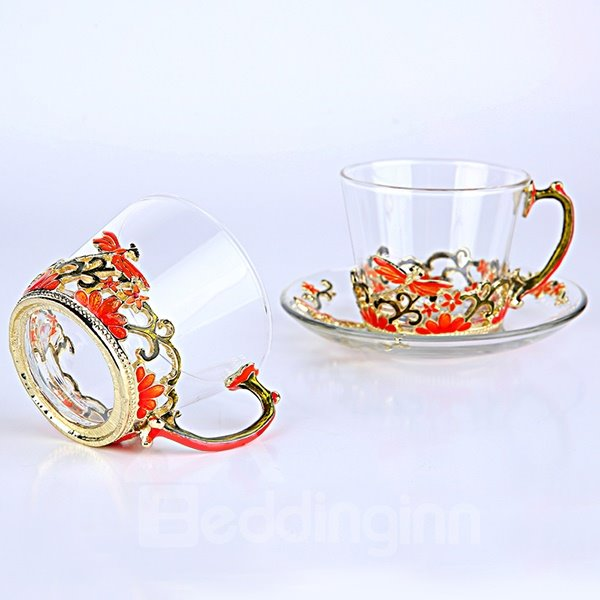 Exquisite Enamel Glass Coffee Cup Sets 1-Pair