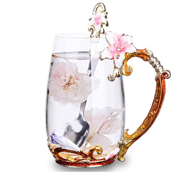 Gorgeous Lily Design Handle Crystal Glass Coffee Cup 1-Piece