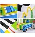 Bright Color Stripes Pattern Purified Cotton Kids 3-Piece Duvet Cover Sets