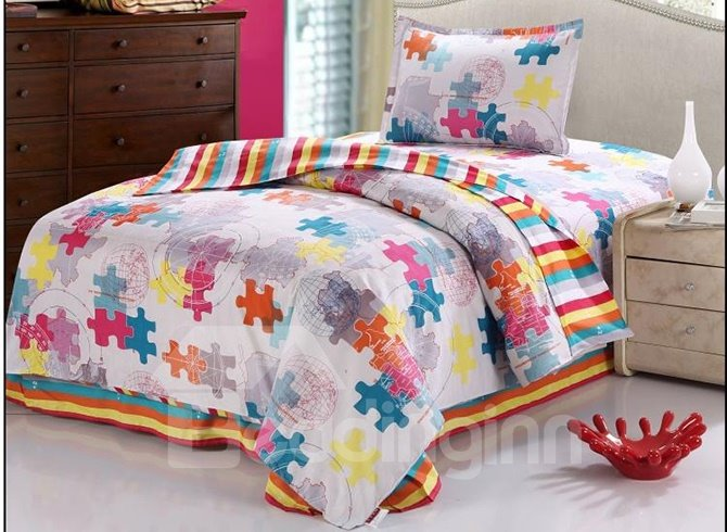 Amazing Puzzle Print Stripes Pattern Purified Cotton Kids 3-Piece Duvet Cover Sets