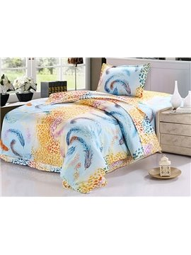 Romantic Feather Pattern Purified Cotton Kids 3-Piece Duvet Cover Sets