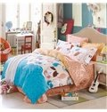 Lovely Cats Singing Print 100% Cotton Girls 4-Piece Duvet Cover Sets