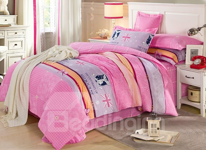 Sweet Pink Plaid Pattern 100% Cotton Girls 4-Piece Duvet Cover Sets