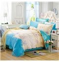 Happy Smile Rose and Heart Shape Pattern 100% Cotton Girls 4-Piece Duvet Cover Sets