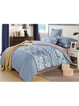 Stars and Stripes Pattern 100% Cotton Boys 4-Piece Duvet Cover Sets