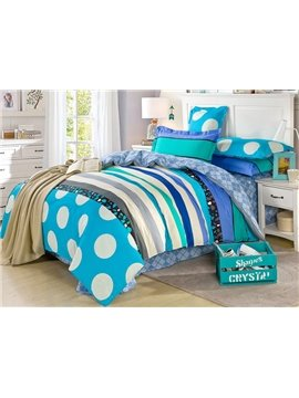 Refreshing Blue Stripes Pattern 100% Cotton Boys 4-Piece Duvet Cover Sets