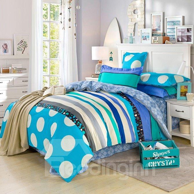 Refreshing Blue Stripes Pattern 100% Cotton Boys 4-Piece Duvet Cover Sets