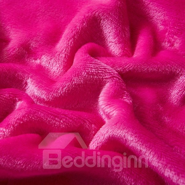 Solid-colored Rosy Comfy Warm Flannel Bed Blanket