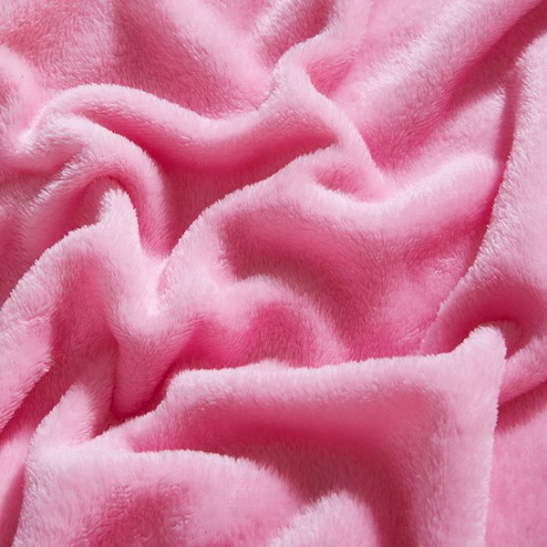 Simple Pink Anti-Pilling Soft Flannel Bed Blanket