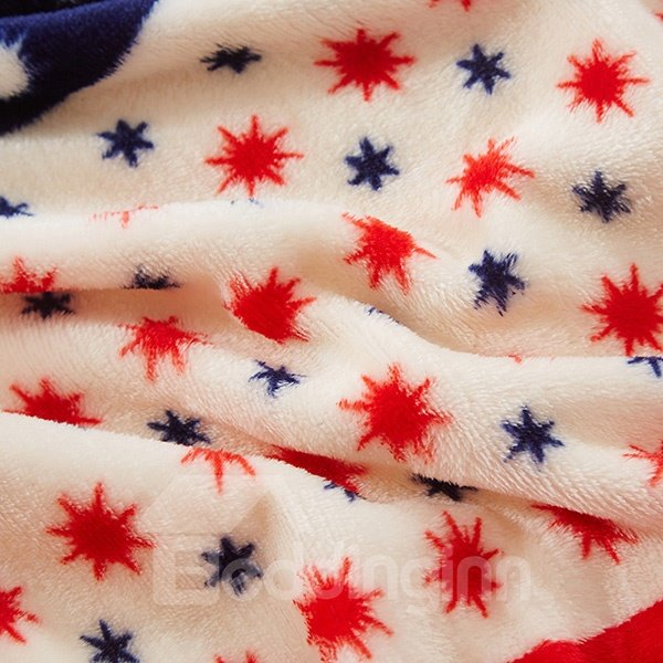Polka Dot Stars and Moon Printed Soft Flannel Blanket