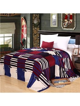 Plaid Stripes Cute Mustache Design Flannel Blanket