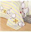 Cartoon White Puppies Stripes Print Flannel Blanket