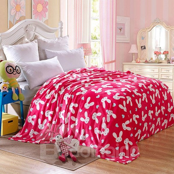 Cartoon White Rabbits Print Rosy Flannel Blanket
