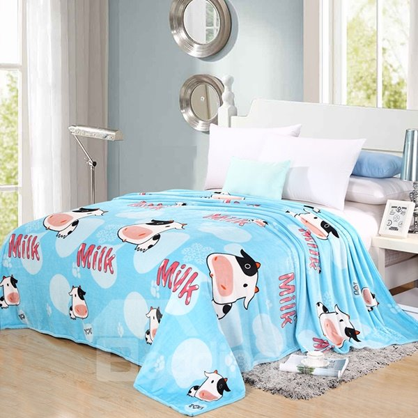 Cute Cow Print Blue Flannel Bed Blanket