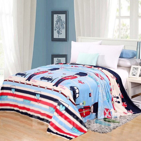 Cartoon Soldiers Printed Super Comfy Flannel Blanket
