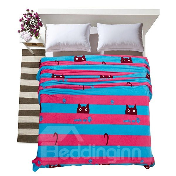 Adorable Cat Stripes Printed Flannel Bed Blanket