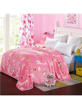 Adorable Cartoon Animals Print Pink Flannel Blanket