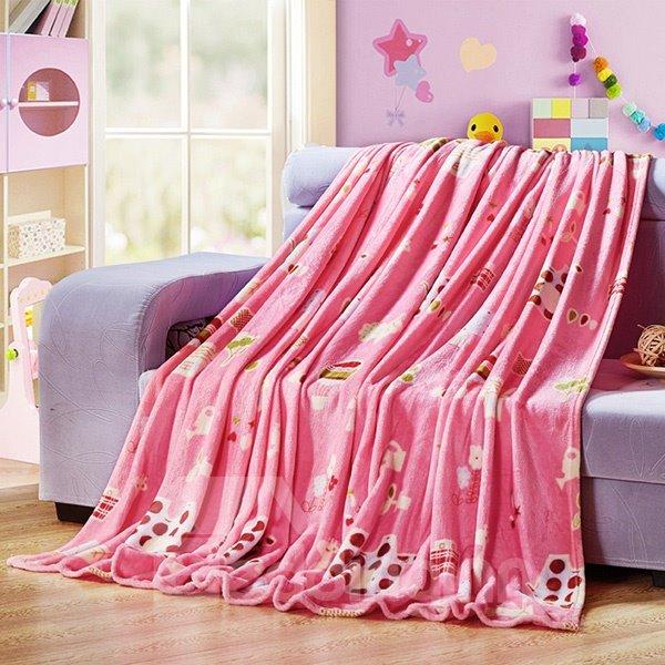 Adorable Cartoon Animals Print Pink Flannel Blanket
