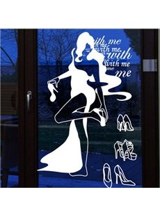 Creative Fantastic Beautiful Woman Trying for Shoes Removable Wall Sticker