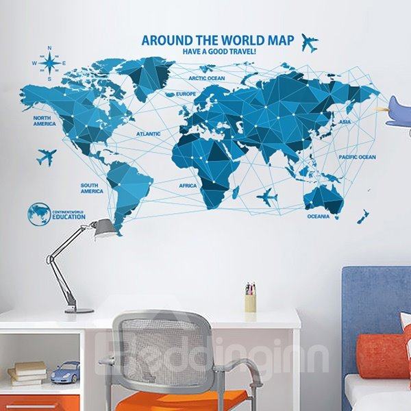 Creative World Map Study Kidsroom Removable Wall Sticker