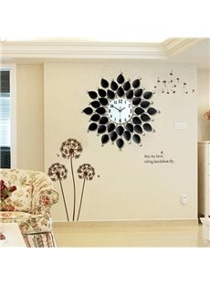 Modern Unique Black Leaves Pattern Diamond Decorative Wall Clock