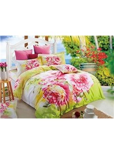 Pink Peonies Design Cozy Cotton 4-Piece Duvet Cover Sets