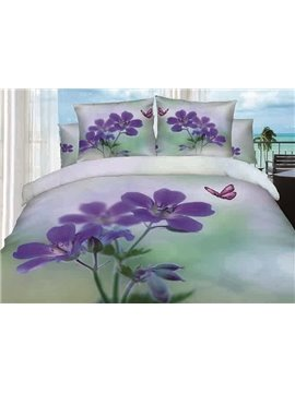 Purple Orchid and Butterfly Printing 4-Piece Cotton Duvet Cover Sets