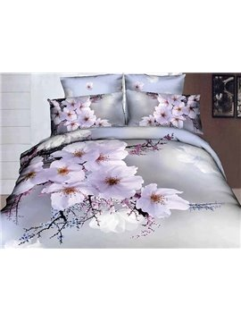 Wintersweet Printing Skincare Cotton 4-Piece Duvet Cover Sets