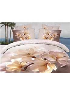 Elegant Magnolia Printing 4 Pieces Duvet Cover Sets