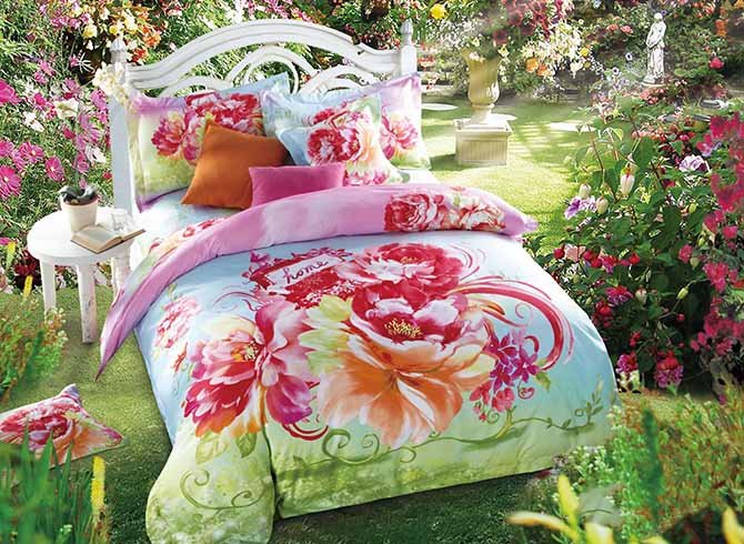 Vibrant Blooming Peonies Printing Skincare Cotton 4-Piece Duvet Cover Sets 11641617