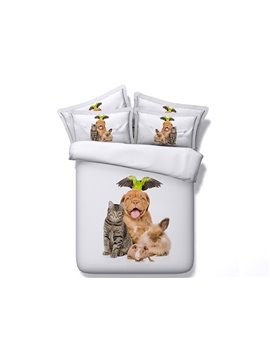Cute Animals Digital Printing with White Ground 5-Piece Comforter Sets